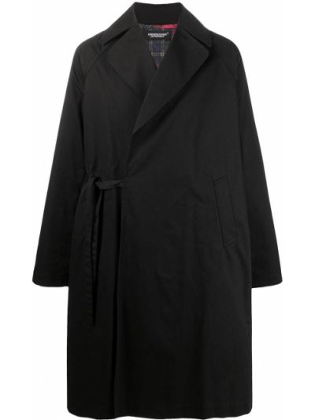 Czarny długi płaszcz bawełniany z długimi rękawami Undercover