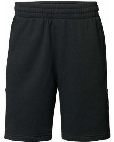 Czarne bermudy bawełniane w paski Adidas Originals