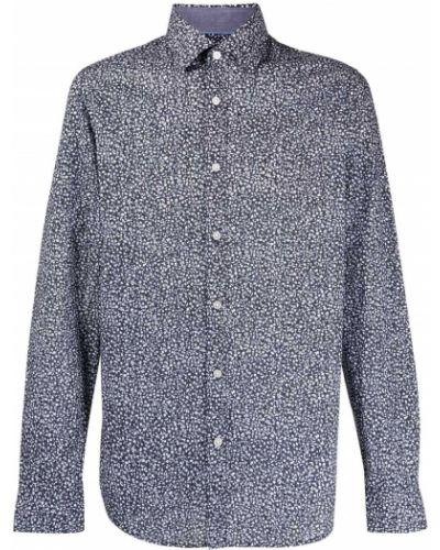 Хлопковая синяя классическая рубашка с воротником Boss Hugo Boss
