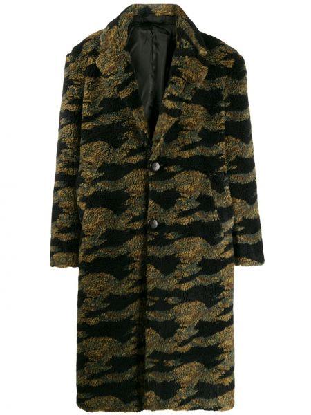 Satynowy zielony płaszcz z długimi rękawami Buscemi