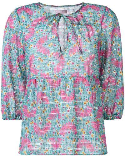 Блузка с цветочным принтом синяя Kristina Ti