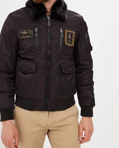 Утепленная куртка черная осенняя Aeronautica Militare