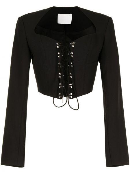 Шерстяной черный удлиненный пиджак с вырезом Dion Lee
