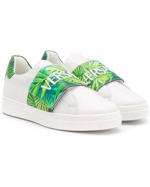 Skórzane sneakersy z logo białe Young Versace