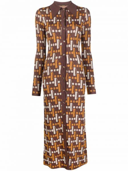 Платье миди с принтом - коричневое Dodo Bar Or