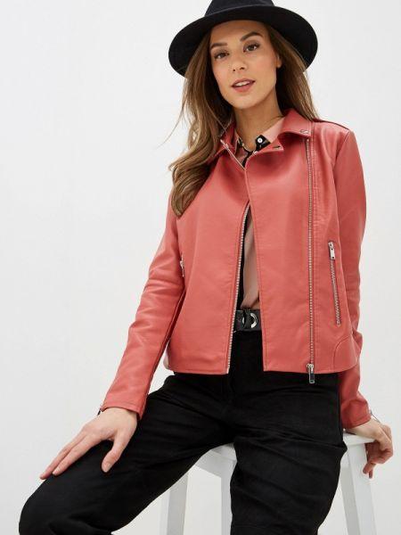 Кожаная куртка весенняя розовая Vila