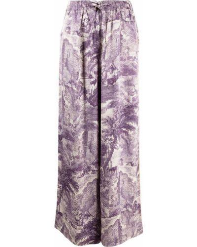 Фиолетовые шелковые брюки с поясом Pierre-louis Mascia