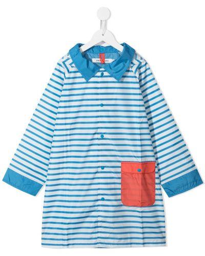 Niebieski płaszcz przeciwdeszczowy z kapturem z długimi rękawami Swanmimi