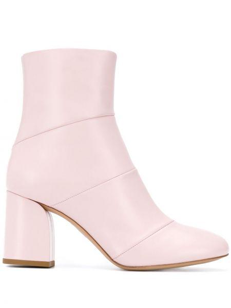Розовые кожаные ботильоны на каблуке на молнии Christian Wijnants