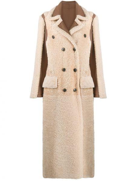 Кожаное пальто классическое двубортное на пуговицах Simonetta Ravizza