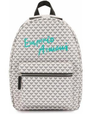 Biały plecak z printem Emporio Armani Kids