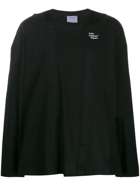 Czarna bluza z długimi rękawami bawełniana Poliquant