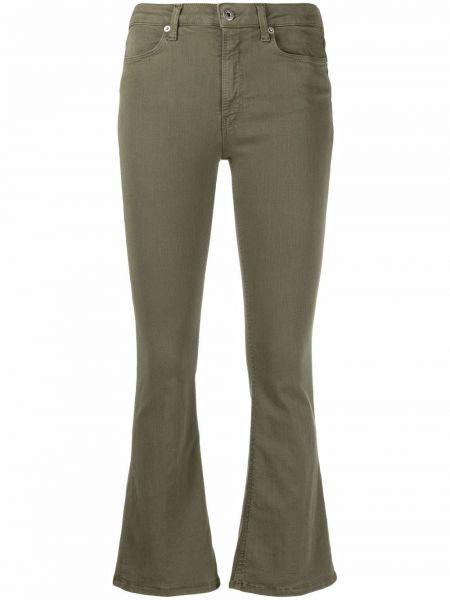 Расклешенные зеленые укороченные джинсы на молнии Dondup