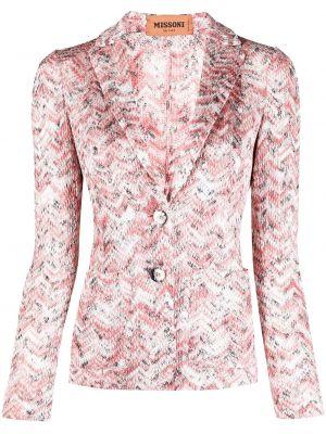 Однобортный розовый удлиненный пиджак с карманами Missoni