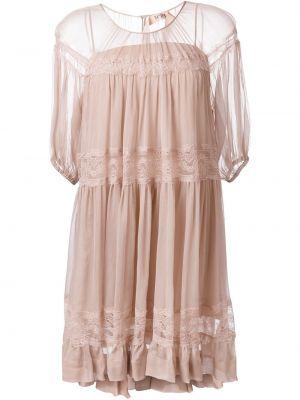 Шелковое розовое платье со вставками N°21
