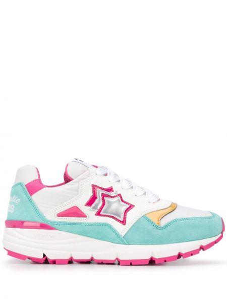 Skórzane sneakersy białe różowy Atlantic Stars