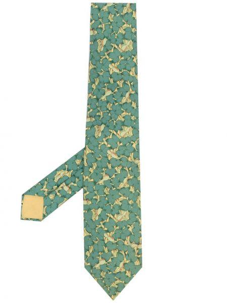 Krawat w kwiaty - żółty Hermes