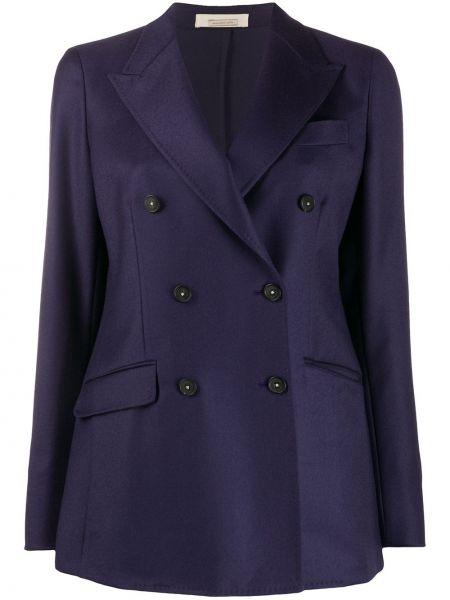 Шерстяной фиолетовый приталенный классический пиджак с карманами Massimo Alba