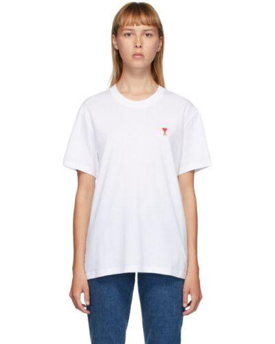 С рукавами белая рубашка с коротким рукавом с воротником с вышивкой Ami Alexandre Mattiussi