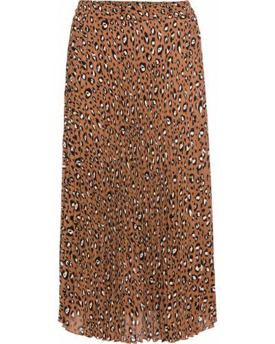 Плиссированная юбка леопардовая коричневый Bonprix