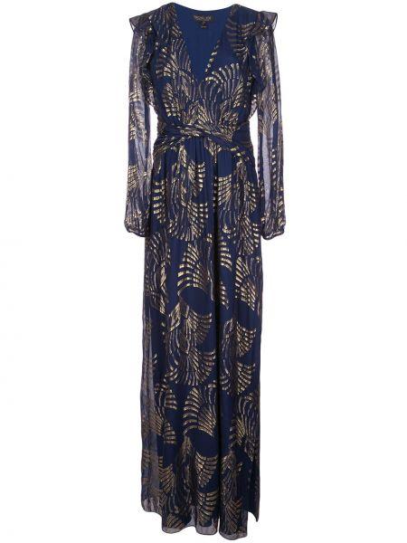Niebieska sukienka długa z długimi rękawami z dekoltem w serek Rachel Zoe