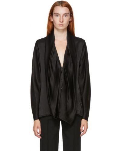 Шелковая черная блузка с воротником с манжетами Haider Ackermann