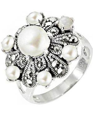 Кольцо с жемчугом из серебра марказит
