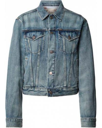 Niebieska kurtka jeansowa bawełniana z printem Polo Ralph Lauren