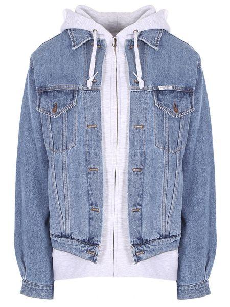 Джинсовая куртка с манжетами с воротником на пуговицах с карманами Forte Couture