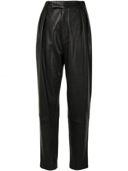Czarny majtki z kieszeniami z prawdziwej skóry Khaite