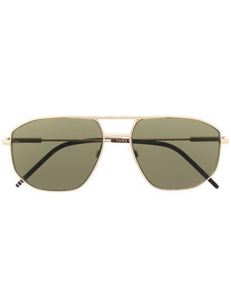 Золотистые желтые солнцезащитные очки металлические Tommy Hilfiger