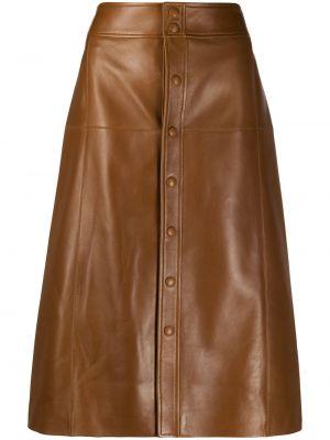 Коричневая с завышенной талией кожаная юбка миди Saint Laurent