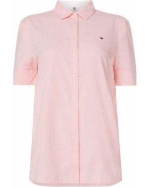 Różowa bluzka krótki rękaw z haftem Tommy Hilfiger