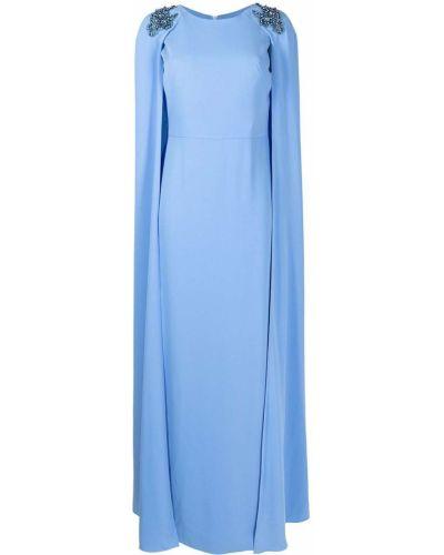 Платье макси с вышивкой - синее Marchesa Notte