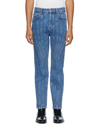 Czarne jeansy z paskiem srebrne Mugler