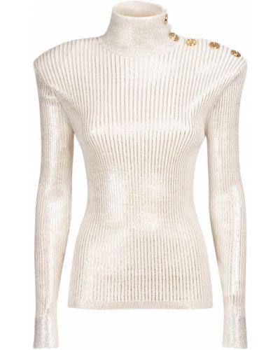 Шерстяной свитер - серебряный Balmain