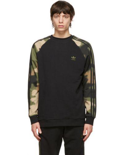 Czarny bluza w paski z kołnierzem Adidas Originals
