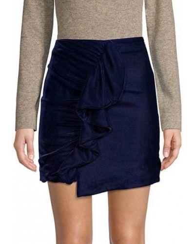 Niebieska spódnica mini kaskadowa z aksamitu Patbo