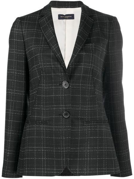 Приталенный черный удлиненный пиджак в клетку Piazza Sempione
