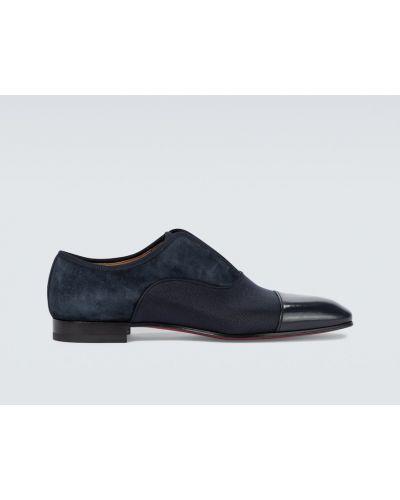 Лаковые замшевые синие классические туфли Christian Louboutin