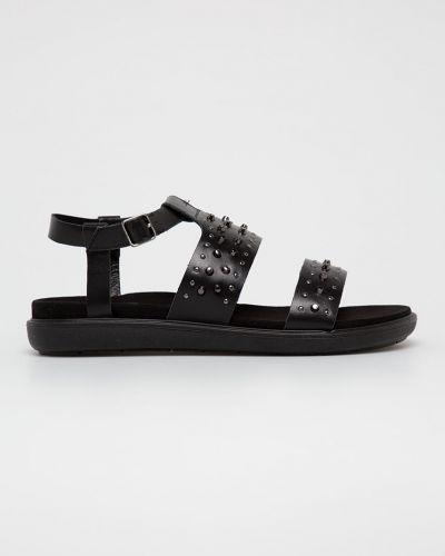 Czarne sandały skorzane na obcasie Gino Rossi