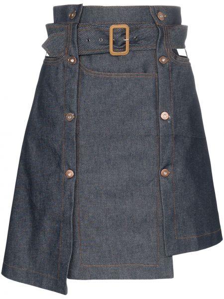 Синяя джинсовая юбка с поясом Delada