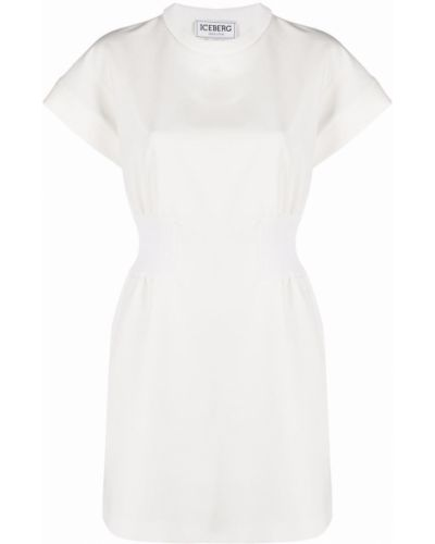 Белое платье мини с поясом с вырезом Iceberg