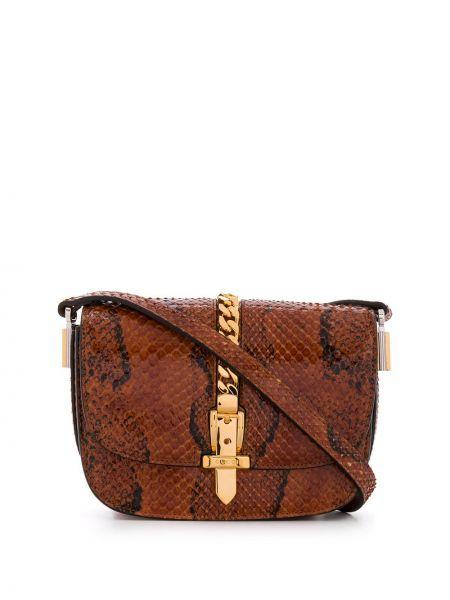Z paskiem brązowy torebka na łańcuszku z prawdziwej skóry Gucci