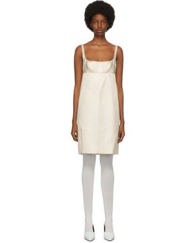 Шелковое белое платье в горошек Marc Jacobs