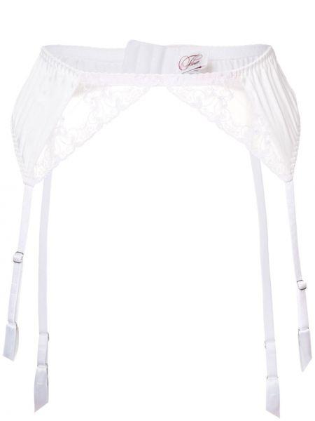 Белые шелковые чулки с поясом Fleur Of England