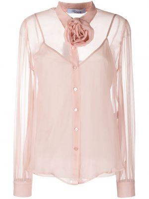 Розовая шелковая блузка прозрачная Blumarine