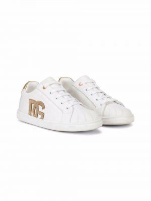 Białe buty sportowe na obcasie Dolce & Gabbana Kids