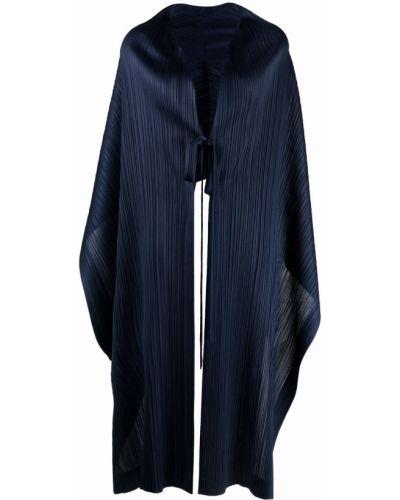 Синяя кейп с V-образным вырезом с завязками Pleats Please Issey Miyake