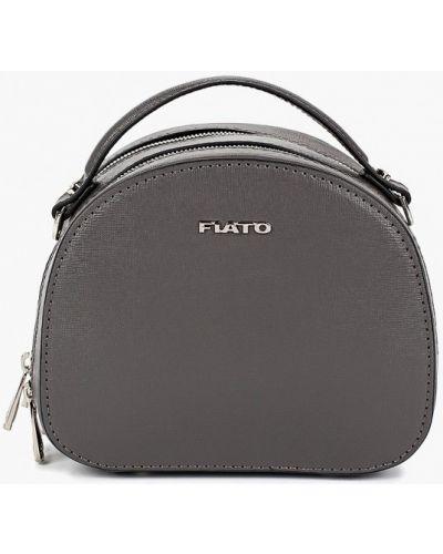 Кожаная сумка через плечо серая Fiato